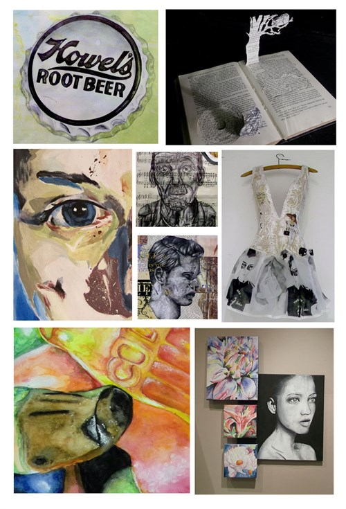 A selection of GCSE work displayed in a collage