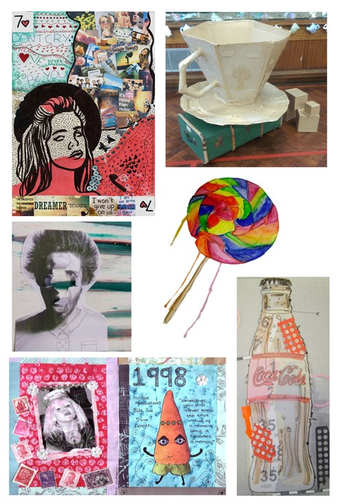 A selection of Year 9 work displayed in a collage